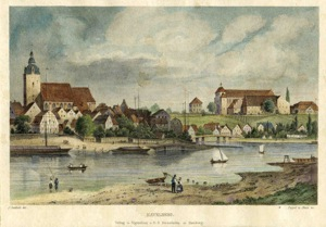 Blick auf die Kirche St. Laurentius (li. im Bild) und Dom St. Marien, Havelberg im 17. / 18. Jh.