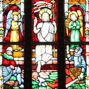 Havelberg, Dom St. Marien, mittelalterliche Fenster mit Glasmalereien, Ausschnitt: Auferstehung Christi