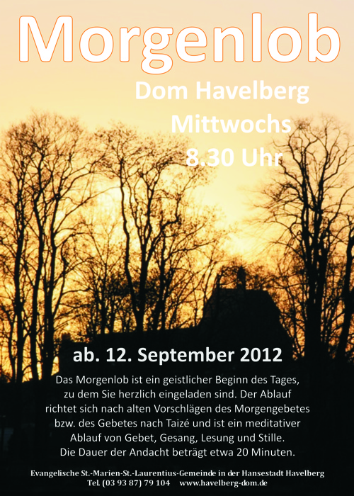 Neu im Havelberger Dom: Morgenlob jeden Mittwoch 8.30 Uhr